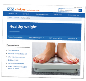 Screenshot of NHS webpage for healthy weight